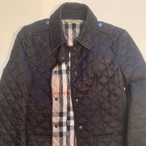 BURBERRY Classic black quilted button-up jacket